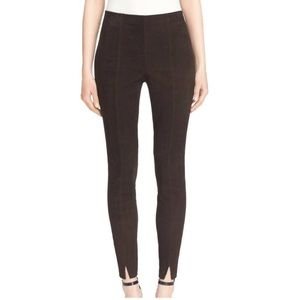 St. John Couture Leather Suede Cropped Pants 8